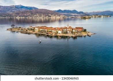 Aerial view of Fishermens Island or Isola dei Pescatori at Lake Maggiore, is one of the Borromean Islands in Piedmont of north Italy, Stresa, Verbania