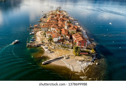 Aerial view of Fishermens Island or Isola dei Pescatori at Lake Maggiore, is one of the Borromean Islands in Piedmont of north Italy, Stresa, Verbania