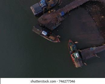 aerial view of fishing boat at yatch