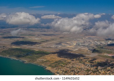 Aerial view of Fiumicino — Leonardo da Vinci International Airport of Rome, Italy. The airport has four runways and four terminals; it is one of the busiest in Europe in terms of passenger traffic