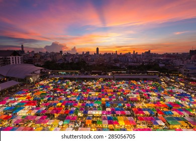 Aerial view of flea market with beautiful sky after sunset