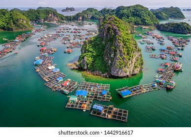 Aerial view floating fishing village and rock island, Lan Ha Bay, Vietnam, Southeast Asia. UNESCO World Heritage Site. Junk boat cruise from Ha Long Bay.Popular landmark, famous destination of Vietnam