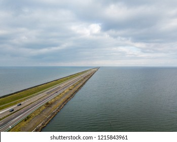 Aerial view of the flood protection dam Afsluitdijk, Netherlands