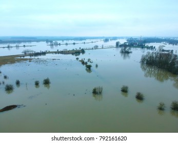 An aerial view of the flooded floodplains of the Dutch Rhine in autumn.