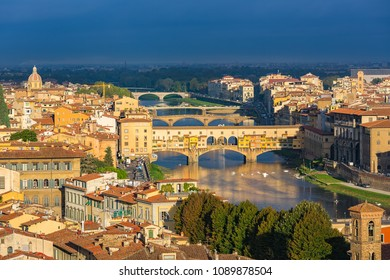 Aerial view of Florence and Arno river, Italy