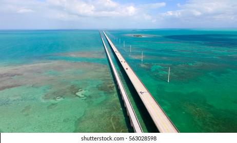Aerial view of Florida Keys interstate.