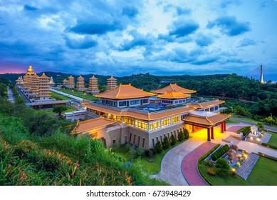Aerial view of Fo Guang Shan Buddha Museum in Kaohsiung, taiwan