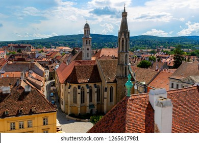 Aerial view of the Fo ter - the main square in the hungarian city Sopron including holy trinity column and the Goat church
