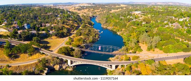 Aerial View of Folsom Powerhouse State Historic Park Overlooking Raibow Bridge