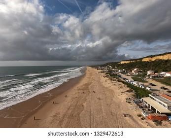 Aerial view of Fonte da Telha beach in Portugal. Taken with a GoPro Karma drone and HERO7 Black camera.