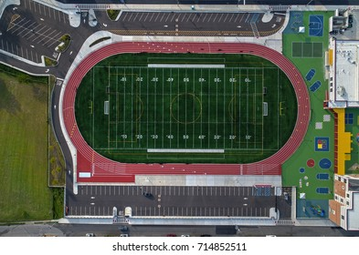 Aerial View of Football Athletic Field