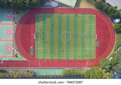 Aerial view of football field from above