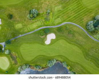 Aerial view of footpath on golf course in Europe