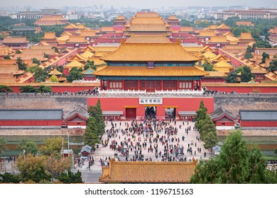 Aerial view of Forbidden City from Jingshan Park in Bejing, China. 14th of October 2017.