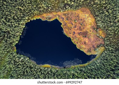 Aerial view of a forest pond seen from above in Kurjenrahka National Park, Finland