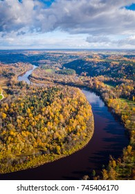 Aerial View of Forest and River during Sunset Time