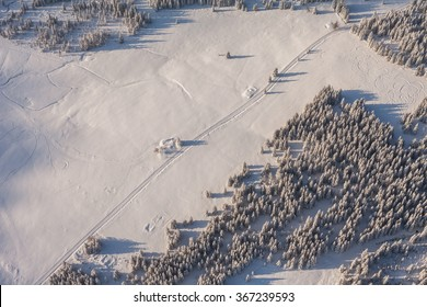 aerial view of the forest in winter time in Poland in Karkonosze mountains