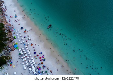 Aerial view of Forno Beach. Fantastic landscape. Great beach view. Arraial do Cabo, Brazil