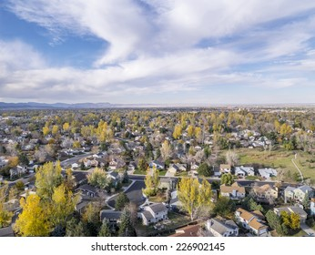 aerial view of Fort Collins residential area, typical along Colorado Front Range, late fall scenery