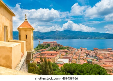 Aerial view from fort Falcone over Portoferraio town of  isola d'Elba, Elba island in Tuscany region, Italy.