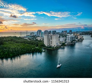 Aerial View of Fort Lauderdale Florida FL Skyline