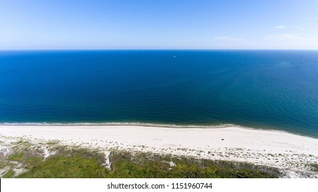 Aerial view of Fort Morgan beach on the Alabama gulf coast
