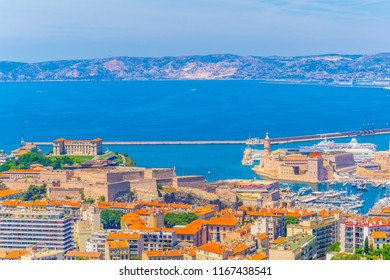 Aerial view of Fort Saint Jean, Fort Saint Nicholas and Pharo Palace at Marseille, France