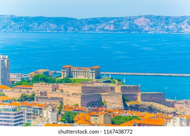 Aerial view of Fort Saint Nicholas and Pharo Palace at Marseille, France