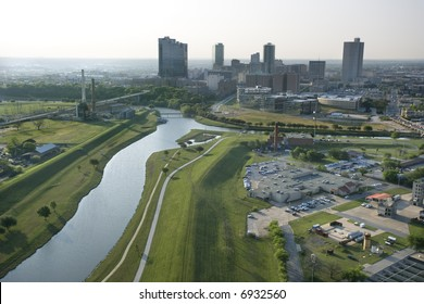 Aerial view of Fort Worth, Texas with view of Trinity River and skyscrapers.