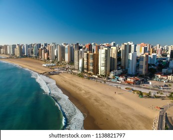 Aerial view of Fortaleza city beach, Ceara State, Brazil.