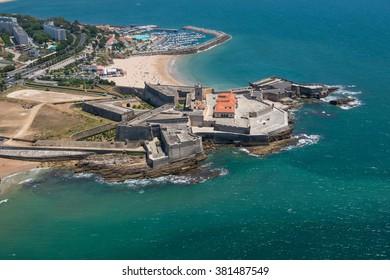 Aerial view of the Forte de Sao Juliao da Barra near Estoril, Portugal
