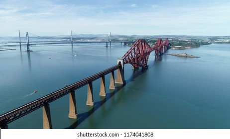 Aerial view of the Forth Railway Bridge near Edinburgh. A huge Victorian cantilever construction and now a World Heritage Site.