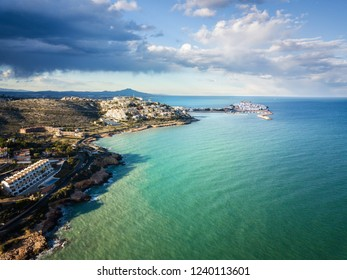 Aerial view of the fortified city of Peniscola in the Costa del Azahar in Castellon, Valencian Community in Spain.