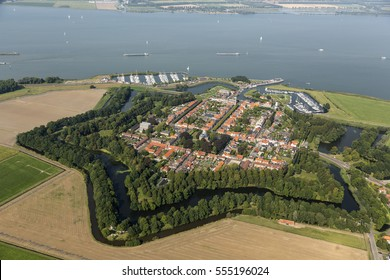 Aerial view of the fortified city of Willemstad, Moerdijk in the Province of Noord-Brabant, Netherlands. Star fortifications were developed in the late fifteenth centuries.