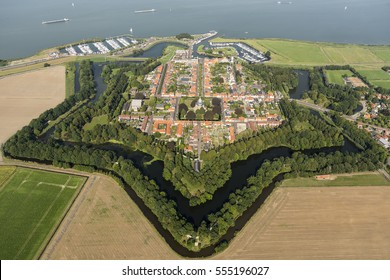 Aerial view of the fortified city of Willemstad, Moerdijk in the Province of Noord-Brabant, Holland. Star fortifications were developed in the late fifteenth centuries.