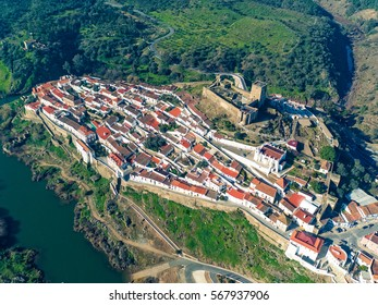 Aerial View of the Fortified Village Mertola, Portugal