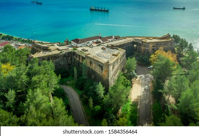 Aerial view of fortress Sao Felipe in Setubal Portugal, star shaped military base protecting the city and the harbor with bastions