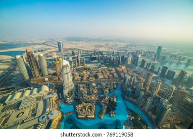 Aerial view of fountain and skyscrapers, Dubai, United Arab Emirates