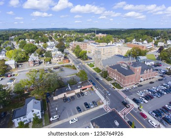Aerial view of Framingham downtown including Police Department, New Life Presbyterian Community Church, and Danforth Museum in Framingham, Massachusetts, USA.