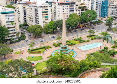 Aerial view of Francia Square (a.k.a. Altamira Square) and its Obelisk, in Venezuelan capital city, Caracas