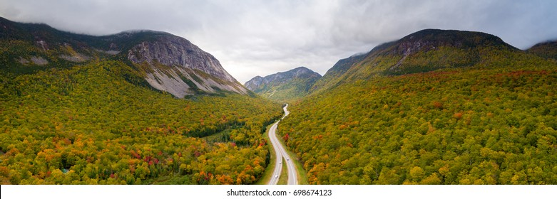 An aerial view of Franconia Notch State Park in the White Mountains of New Hampshire.