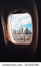 aerial view of Frankfurt am Main, germany, seen through an airplane window