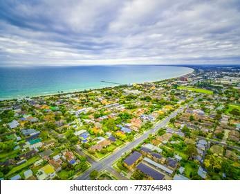 Aerial view of Frankston suburb on Mornington Peninsula, Victoria, Australia
