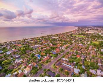 Aerial view of Frankston suburb at sunset. Mornington Peninsula, Melbourne, Australia
