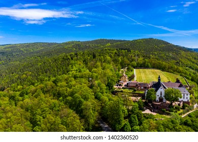 Aerial view, view of Franziskanerkloster Engelberg, Miltenberg am Main, Lower Franconia, Bavaria, Germany