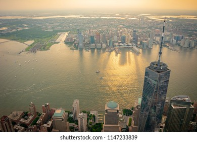 Aerial view of Freedom Tower, Lower Manhattan, New York, Hudson River and Newport, Jersey City.