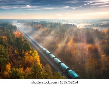 Luftbild des Güterzugs und schöner Wald im Nebel bei Sonnenaufgang im Herbst. Farbige Landschaft mit Eisenbahn, bewegtem Zug, nebligen Bäumen, Sonnenliegen und blauer Himmel im Herbst. Draufsicht. Bahnhof