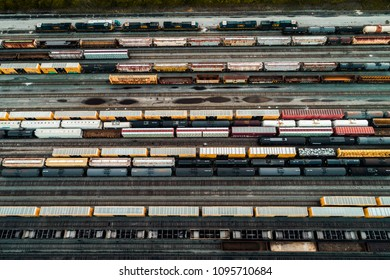 Aerial view of a freight train yard