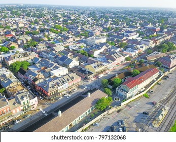 Aerial view French Quarter with extant historical buildings from 19th century. The historic district section of the city of New Orleans, Louisiana, USA. Railroad from Leningradsky railway station