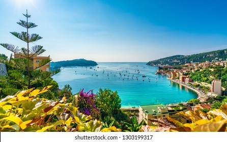 Aerial view of French Riviera coast with medieval town Villefranche sur Mer, Nice region, France